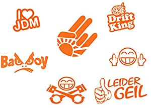 Auto Aufkleber JDM Sticker Set 7 Teilig Sticker Bomb (Orange)