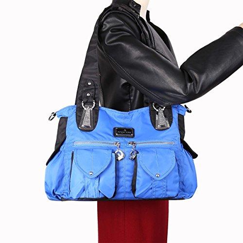 Angelkiss 2 Top Cerniere multi tasche borse di nylon tessuto increspa Tracolle LX1245 Blu