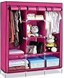 MINNAS CENTRAL Fancy & Portable Foldable Multi-Purpose Wardrobe Almirah Non Woven Fabric A-2 Light and Pink Color