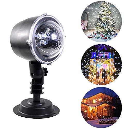 GYFHMY Schneefall Projektor Lichter, Outdoor-Gärten Stake Light LED Schneeflocke, wasserdichte Landschaft Spotlight Fairy Schneeflocken Dekor für Weihnachten Homes Hochzeit