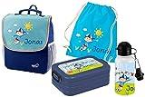 Mein Zwergenland Set 5 Kindergartenrucksack mit Brotdose, Turnbeutel aus Baumwolle und Trinkflasche Happy Knirps Next mit Name Junge, 4-teilig, Blau