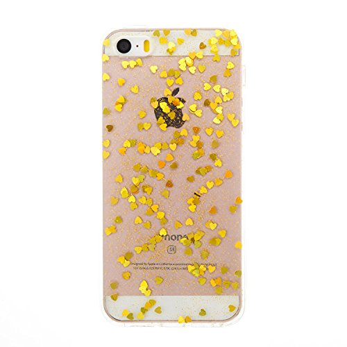 Custodia iphone SE/5/5s, iphone SE/5/5s Cover, iphone SE/5/5s Custodia Silicone,Cozy Hut Case Cover per iphone SE/5/5s, Shiny Sparkly Bling Bling Glitter Conchiglia Caso Guscio Sottile TPU Silicone Ge Amore dorato