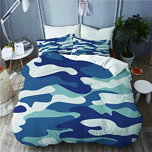 PENGTU Bettwäsche-Set, Mikrofaser,Camouflage Classic Style Masking Camo Schwarz Grau Weiß Farben Winter Ice,1 Bettbezug 200 x 200cm+ 2 Kopfkissenbezug 80x80cm