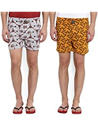 Joven Men's Yellow And Grey Printed Boxers