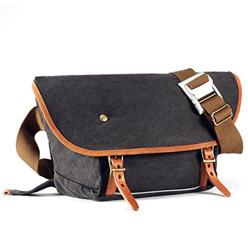 Kattee Herren Canvas Messenger Bag Multifunktionale Kuriertasche Umhängetasche Crossbody Schultertasche(Grau) Grau