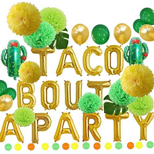 Grün-goldfarbenes Taco Bout a Party Folienballons und Tissue Pom Poms Blumen Set Fiesta Party Motto Baby Shower Schwangerschaft Announcement Ideas mexikanisches Fiesta Themenzubehör