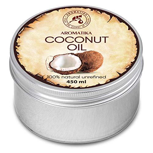 Kokosöl 450ml - Cocos Nucifera - Indonesien - Kaltgepresst - 100% Rein & Natürlich - Kokosnussöl - Unraffiniert - Körperbutter - Pflege für Gesicht - Haare - Körperpflege - Coconut Oil