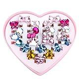 MaoXinTek Regolabili Anelli di Cristallo per Bambini Colori Assortiti Anello Giocattolo Vestire Gioielli con Scatola a Forma di Cuore per Festa di Compleanno 24 Pezzi