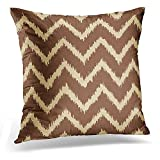 gthytjhv Couverture taie d'oreiller Beige Cream Ikat Chevrons Chocolate Brown and Milk Decorative Pillow Case Home Decor Square 18x18 inches Pillowcase
