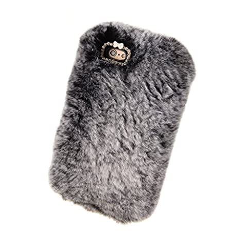 Apple Iphone 5C Case, Luxury Stylish Bling Fluffy Cover Plush Rex Rabbit Hair Fur Cases for Iphone 5C Decorative Handmade Cover(Grey)
