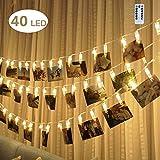 Filo con mollettine e luci LED, per appendere foto, appunti, biglietti vari, decorazioni per la casa, feste di matrimonio, Natale, ecc., luci di colore bianco caldo