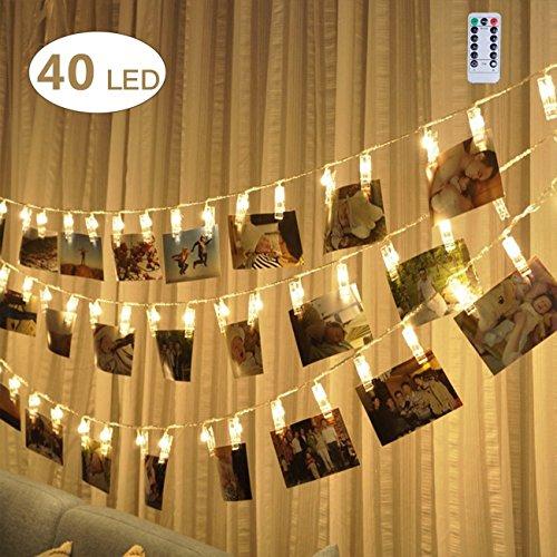 LED Lichtleisten, 6 m/20 ft 40 Foto Clips Lichtschlauch USB Fernbedienung, warm weiß, wasserdicht, Deko DIY Hochzeit Laterne Festival Halloween Weihna Bild Es Buchen