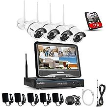 SANNCE sistema de vigilancia wifi NVR 1080P inalámcrica con pantalla LCD de 10.1 pulgadas y 4 cámaras de seguridad (Onvif H.264 CCTV 4CH NVR wifi y 4 cámaras 1.0MP)-1TB disco duro de vigilancia