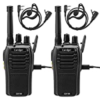 Caroger Rechargeable Walkie Talkie License-Free PMR 446MHz 16 Channels Business Professional Two Way Radio Long Range with USB Charger and Earpieces (2 Packs,Black)