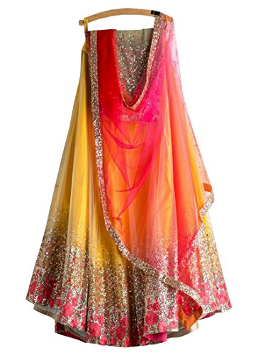 Shivam Embroidery Women's Silk Yellow Lehenga Cholis(NT501_Yellow_Free Size)