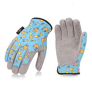 Vgo Gants de Jardinage en Microfibre pour des Enfants 4~5 Ans, Gants des Travail Ordinaire (1 Paire, Taille S/7, Bleu, KID-MF7362)