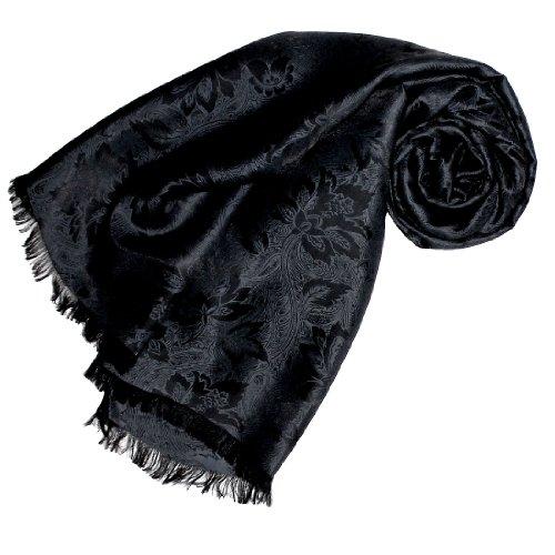Lorenzo Cana High End Luxus Schal Luxustuch elegant gewebt in Damast - Webung florales Paisley Muster aus Viskose mit Seide 55 x 190 cm (Schal Muster Florales)