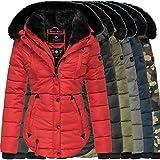 Marikoo Damen Winter Jacke Herbst Stepp Kurz Parka warm Teddyfell gefüttert 6 Farben Camouflage XS - XXL Lotusblüte 1