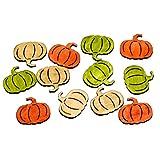 Streudeko KÜRBIS - 36 Stück - 4 cm -Braun / Orange / Grün - aus Holz - Herbst - Tafeldeko - Tischdeko für Hochzeit, Taufe, Geburtstag, Gartenparty, Jubiläum, Kommunion, Konfirmation