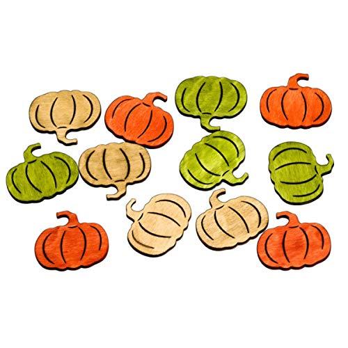 72 Stück - 2 cm -Braun / Orange / Grün - aus Holz - Halloween - Herbst - Tafeldeko - Tischdeko für Hochzeit, Taufe, Geburtstag, Gartenparty, Jubiläum, Kommunion, Konfirmation ()