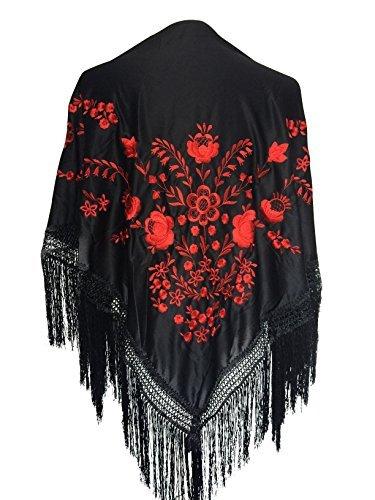 Kostüm Spanisches Flamenco - La Senorita Spanischer Manton, Tuch - Schwarz Rot