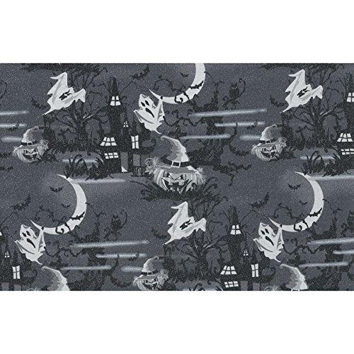 Halloween Stoffe-0,5Meterware-von EE Schenck-100% Baumwolle Schwarz -