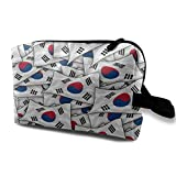 South Korea Flag Wave Collage Toiletry Bag Waterproof Fabric Cosmetic Bags Travel Case For Women's Accessories