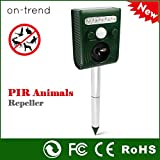 Outdoor Solar Powered Ultrasonic Animal Pet Repellent Device - Flashing LED Lights - 30ft / 9m range - Deterrent Repeller of Cat Dog Mice Bird Rodent - Rechargeable Batteries included USB Back up Charger and Spike For Your Garden Yard Field Farm Grass Lan