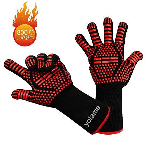 yotame Grillhandschuhe, Hitzebeständige Ofenhandschuhe 1472°F (800°C) Anti-Rutsch KochenHandschuhe Silikon Extra Langen Manschetten Hitzefeste Handschuhe für BBQ, Kochen, Backen, Schweißen -Schwarz