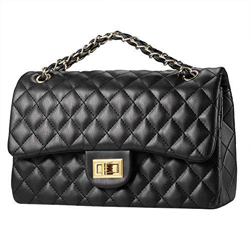 KIPTOP Pochette catena donna carriera ol borsa a quadretti borsa a tracolla borsa da donna (nero)