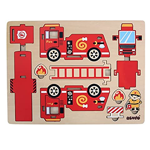 Benho Wooden Police Fire Truck Car Jigsaw 3D Puzzle Toys for Children Kids 12 Pieces