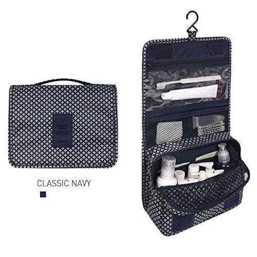 Trousse de toilette à suspendre Organiseur de voyage Sac pochette de rangement avec grande contenance Free Size Bleu marine classique