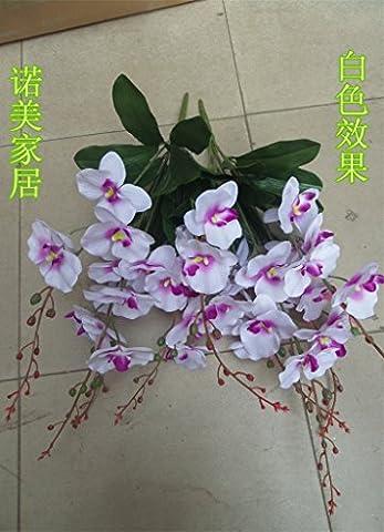 fkduih die Topfpflanzen Künstliche Kunststoff Blume Klebstoff doppelt Clivia Phalaenopsis Blätter Phalaenopsis white bunch