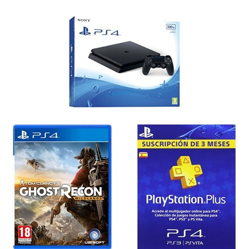 PlayStation 4 Slim (PS4) - Consola de 500 GB + Ghost Recon Wildlands + PSN Plus Tarjeta 90 Días