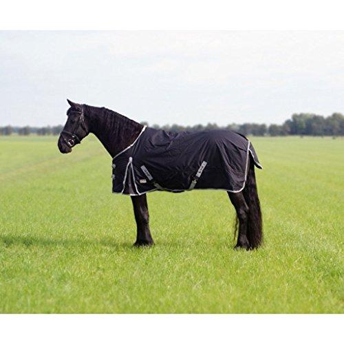 QHP Regendecke Turnout XL 600D 0g Füllung für Friesen und großrahmige Pferde schwarz (155 cm)