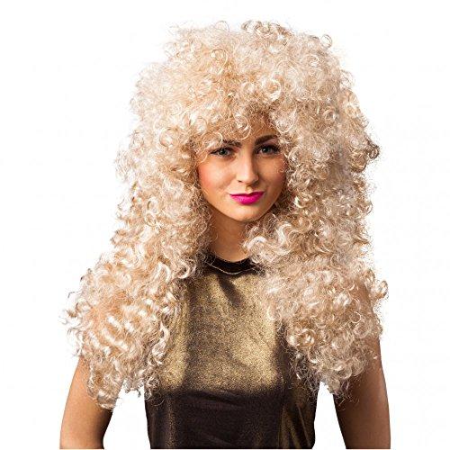 Lockenperücke 80er Jahre blond Langhaar Damen Perücke Fasching (Jahre Perücken Achtziger)