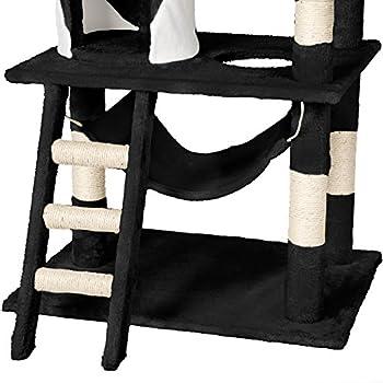 TecTake Arbre à chat griffoir grattoir geant   avec hamac et tunnel   hauteur 141 cm - diverses couleurs au choix - (Noir Blanc   No. 402278)
