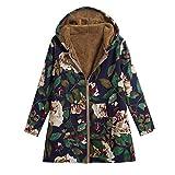 TianWlio Damen Herbst Winter Jacken Parka Mäntel Warme Outwear Weinlese mit Blumen Mit Kapuze Drucken Taschen Übergröße Mantel Marine M