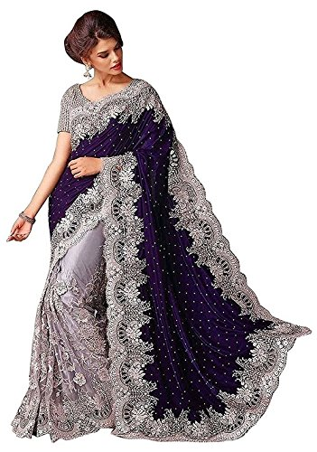 White World Women\'s Velvet And Net Saree(Women\'s clothing saree for women latest design wear saree collection in multi color latest saree with blouse free size beautiful saree for women party wear o