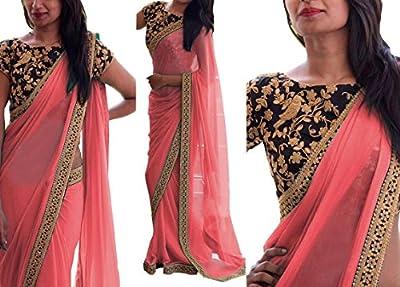 Stylefabs Georgette Saree (Dbgajri_Gajri) - Gajri Saree Color : Gajri Color Saree , Blouse Color : Black
