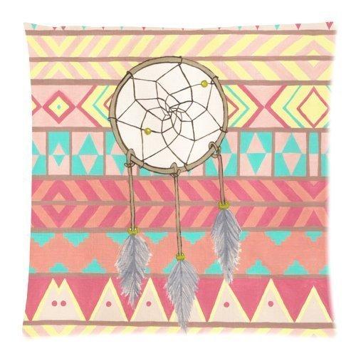 De círculos con motivos geométricos Atrapasueños con texto en inglés de cenefa azteca Funda cojín - manta funda de almohada Decor fundas para cojín cuadrado con cremallera Invisible - 18 x 45,72 cm, diseño de One-una sola cara