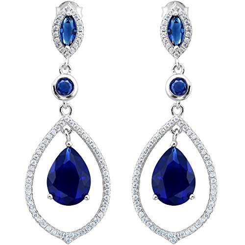 EVER FAITH® Argento 925 Cubic Zirconia Teardrop Chandelier Earrings - rodio placcato Sapphire Colore N06482-1