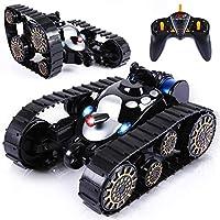 SGILE RC Tank Remote Control Car - 360° Flip Stunt Car Toy with Flashing Light&Lifelike Sound, Black