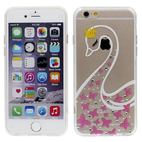 Apple iPhone 6 6S 4.7 inch Coque Housse de protection Case, Très Mince Poids Léger Transparent Flexible TPU Bling Bling Cristal Faux Diamant Serie - Beau Rose Fleur color-1