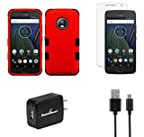 Moto G5 Plus - Accessory Bundle with [TUFF Series] [Military-Grade] Case - Red/Black, Atom LED, Tempered Glass Screen Protector and 10W/2.1A Home Wall Charger with Micro USB Cable [4 ft.]