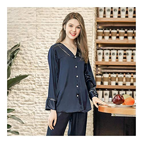 HAOLIEQUAN Frühling Satin Pyjamas Frauen Zwei Stücke Set Home Suit Voller Ärmel Silk Pants Pyjama Set Damen V-Ausschnitt Nachtwäsche, Marineblau, XL -