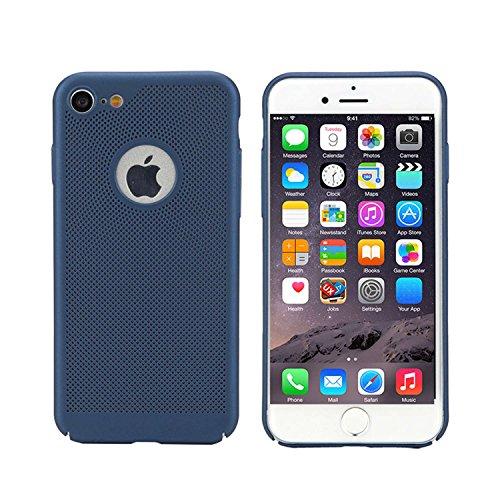 """MOONCASE iPhone 7/iPhone 8 Hülle, Rugged PC Rüstung Wärmeableitung Handyhülle Ultra Thin Fallschutz Anti-Scratch Schutztasche Case für iPhone 8 4.7"""" Schwarz Blau"""