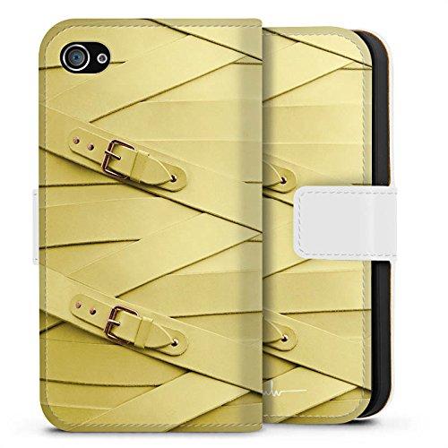 Apple iPhone X Silikon Hülle Case Schutzhülle Fashion Mode Leder Sideflip Tasche weiß