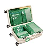 Travel Packing Organizers - Clothes Cubes Shoe Bags Laundry Pouches For Suitcase Luggage, Storage Organizer 7 Set Color Green