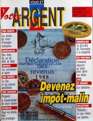 VOTRE ARGENT [No 1] du 01/02/1989